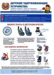 Информация по профилактике ДДТТ. Детские удерживающие устройства